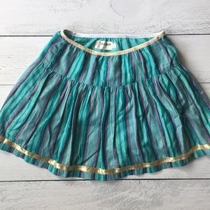 Turquoise skirt with purple stripes + gold accent